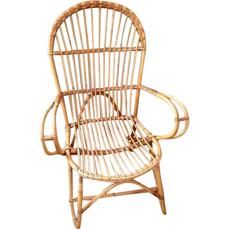 Vintage rattan and wicker armchair, 1960s