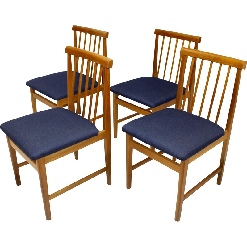Set of 4 Scandinavian vintage chairs in blue fabric and beech, 1950s