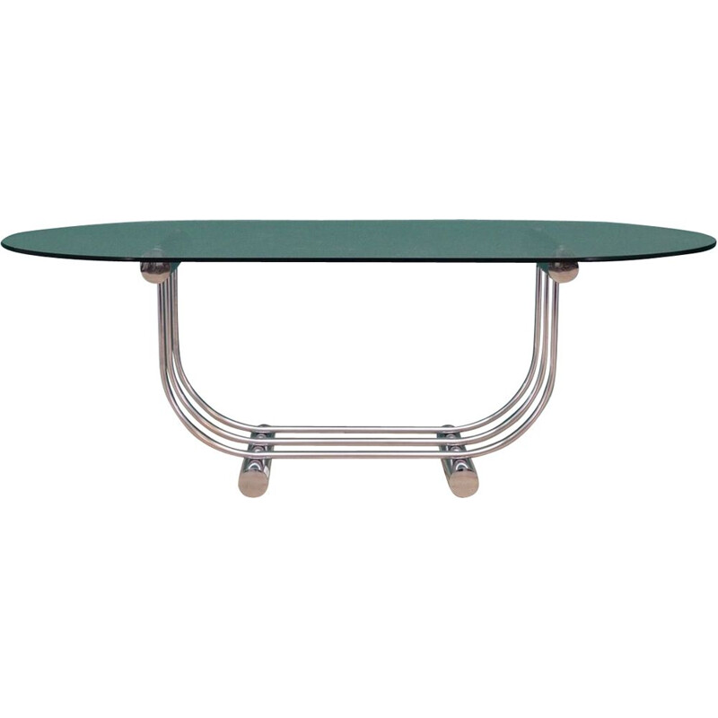 Vintage chrome metal coffee table, 1960-70s