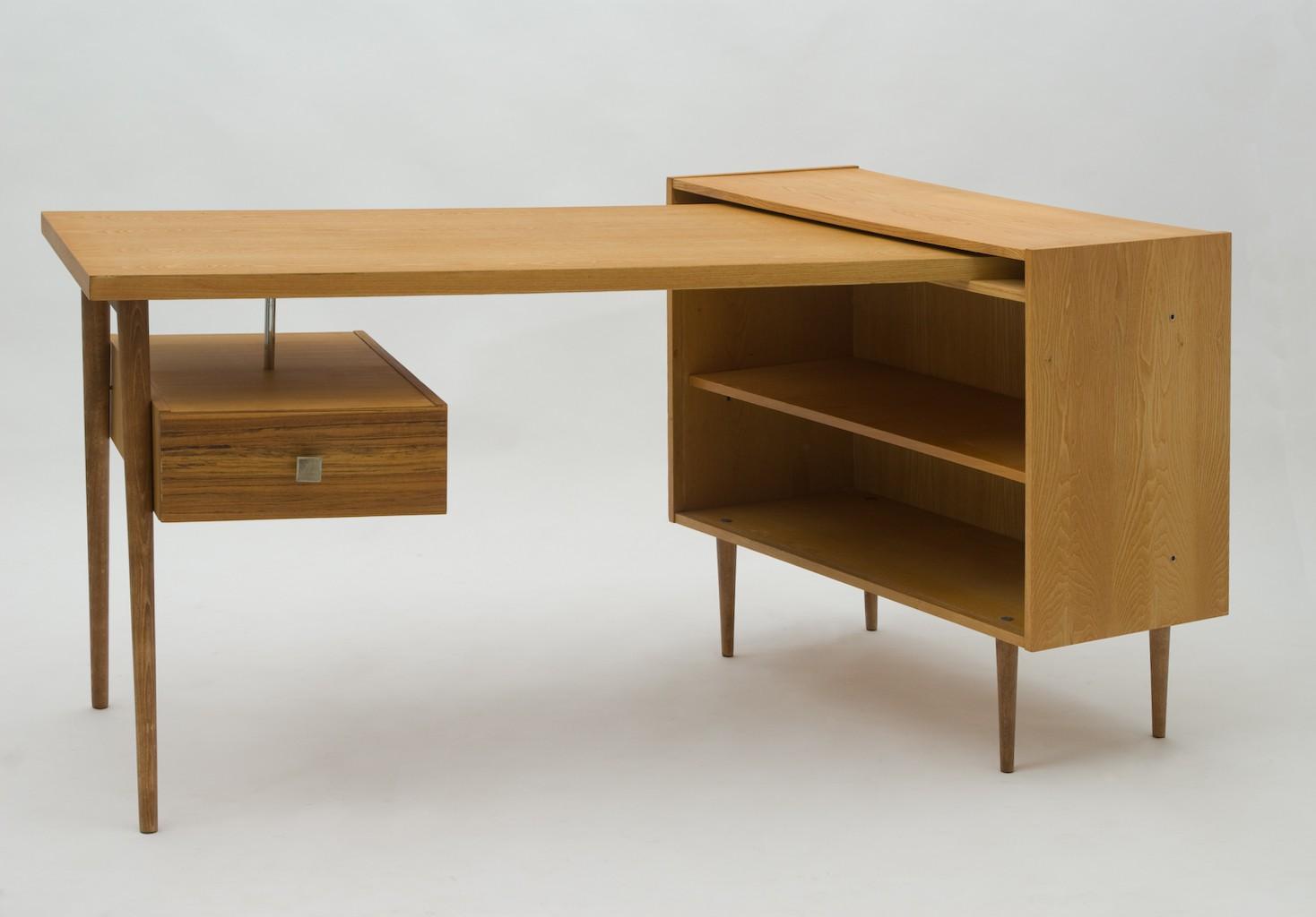 Český Nábytek Work Desk With Storage In Beechwood And Birch 1960s Previous Next