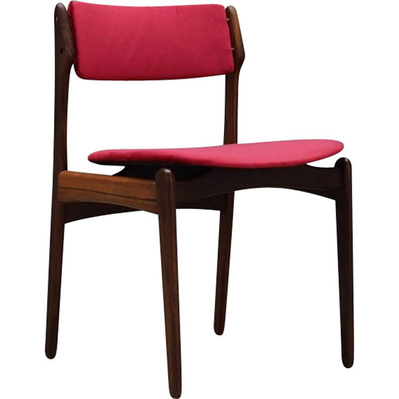 Vintage pink velvet and rosewood chair by Erik Buch, 1960s