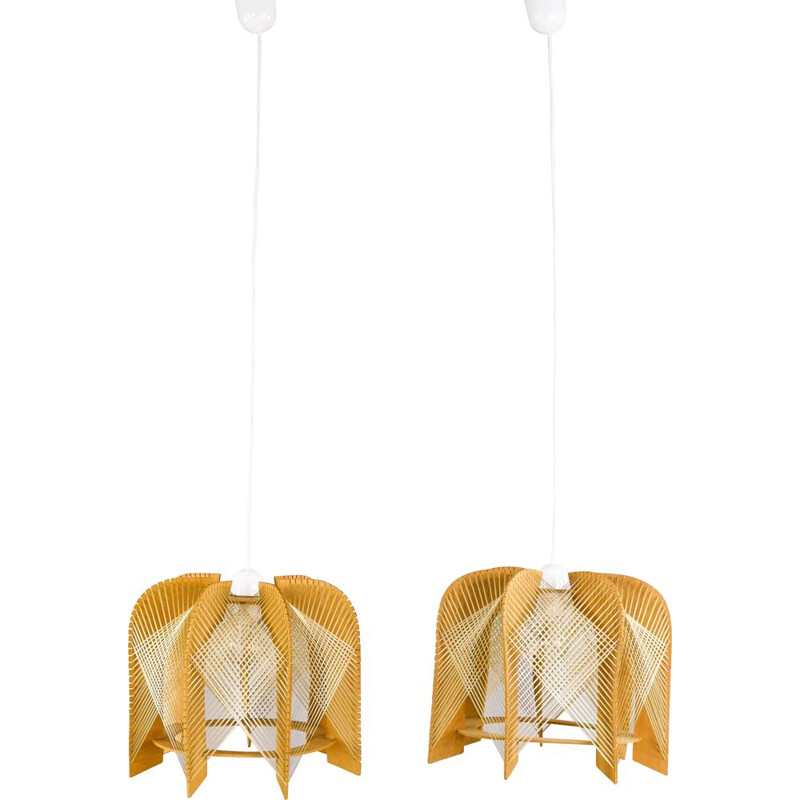 Pair of vintage raffia and wood ceiling lamps, 1970s