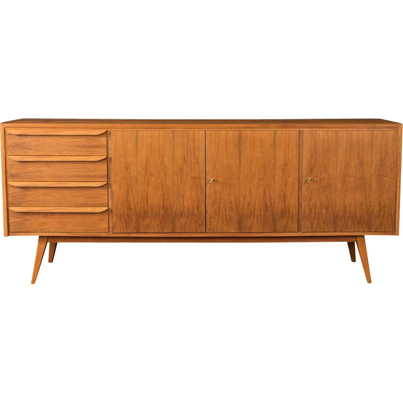 Vintage teak sideboard with three cupboard doors, 1950s