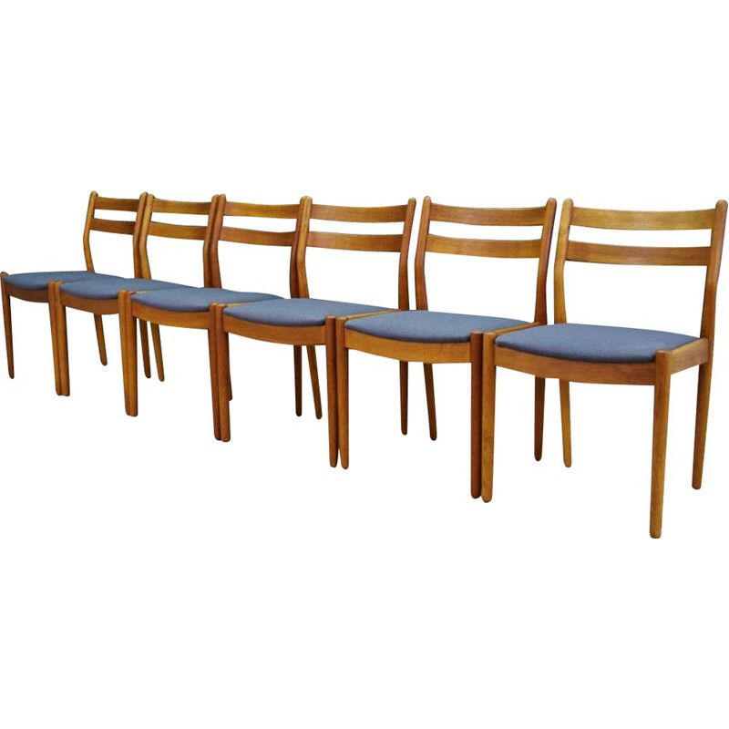 Set of 6 teak vintage chairs by Poul M. Volther, 1960s
