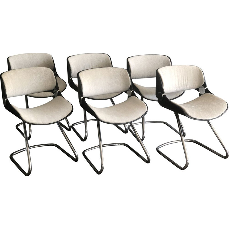 Suite of 6 vintage chairs by Etienne Fermigier, 1970