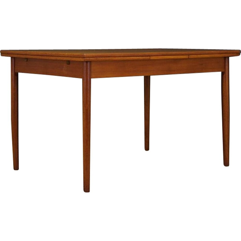 Vintage teak scandinavian dining table with 2 inserts, 1960s