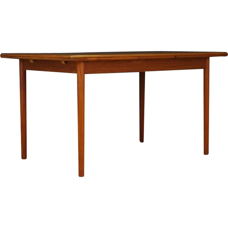 Vintage teak dining table with 2 pull-out inserts, Denmark, 1960-1970s