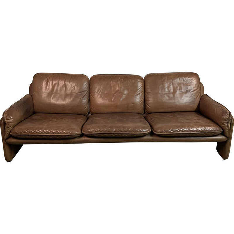 Vintage leather sofa model DS61 by De Sede