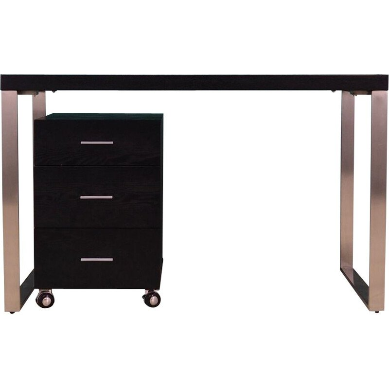 Vintage desk in black wood and chrome-plated metal, Scandinavian design, 1990s