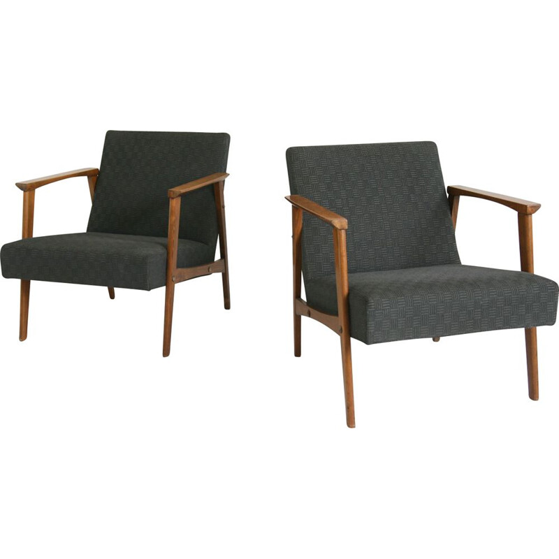 Pair of vintage black lounge chair, 1950s