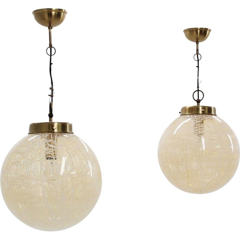 Vintage pair of globe hanging lamps by La Murrina, 1970s