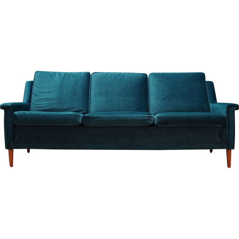 Vintage velour green sofa, 1960