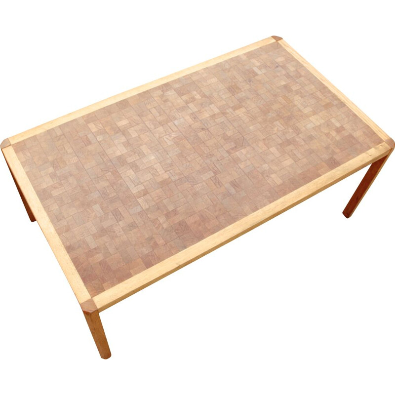 Large vintage Scandinavian coffee table in wood marquetry