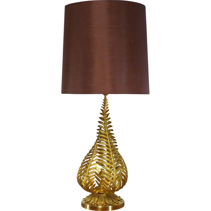 Vintage table lamp with golden ferns leaves