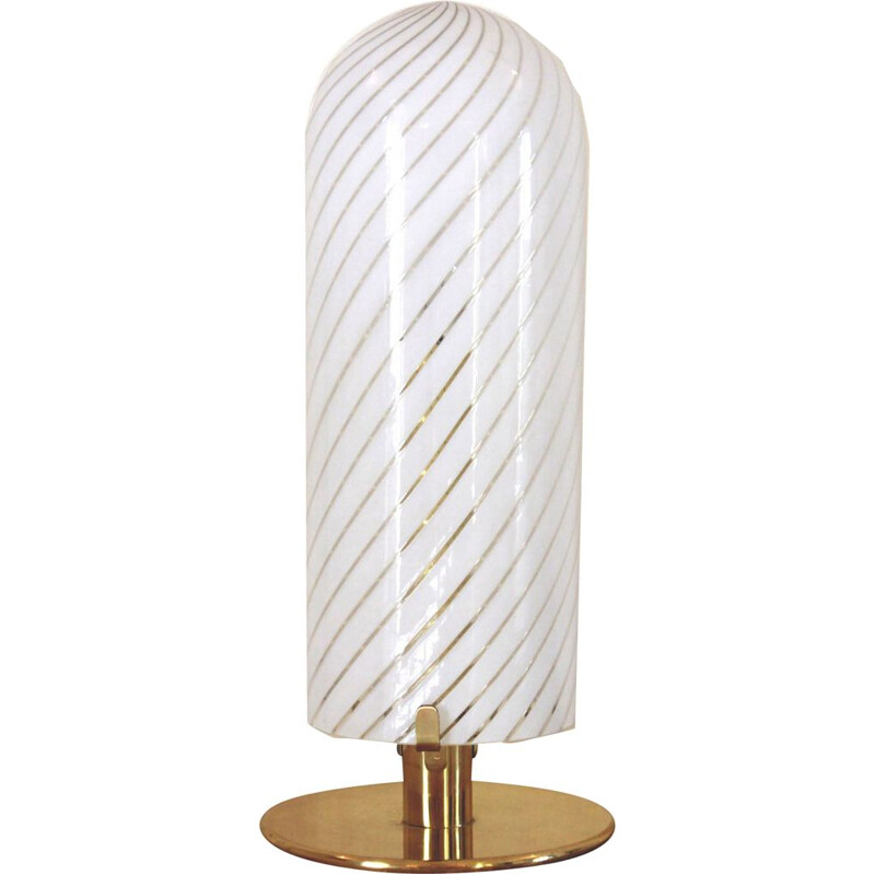 Vintage Italian Table Lamp by Nason For Mazzega in Murano glass
