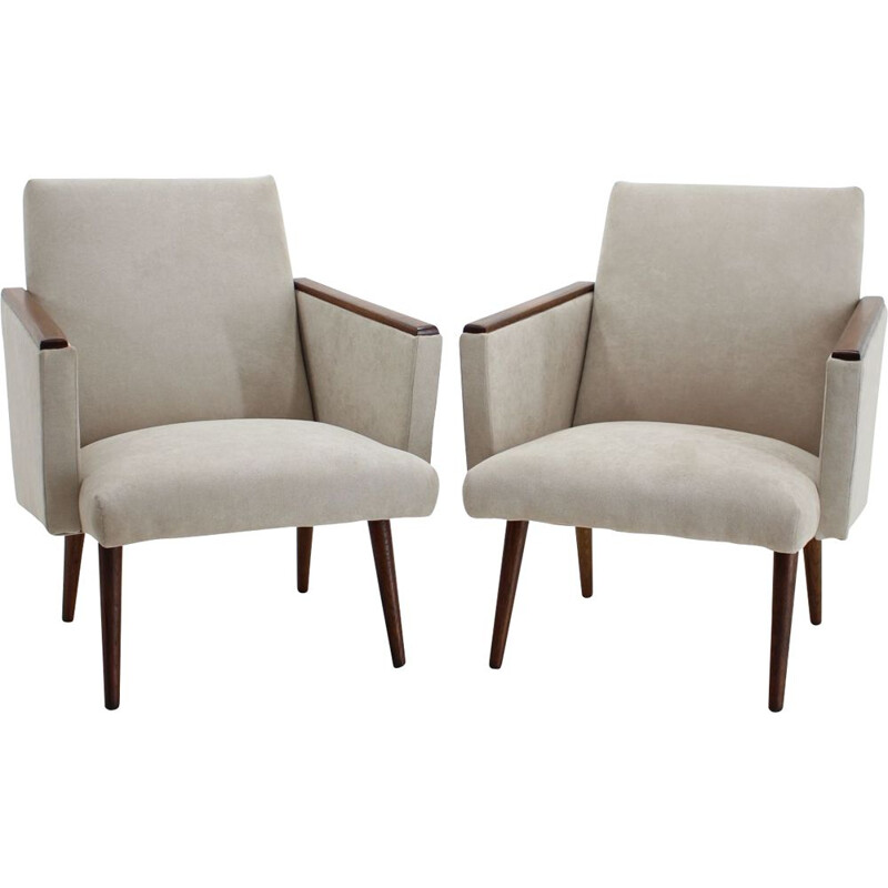 Vintage Pair of Armchairs, Czechoslovakia 1960