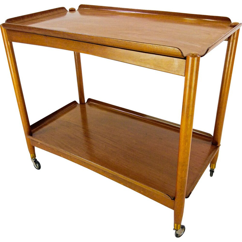 Vintage Danish Double Plate Serving Trolley in teak