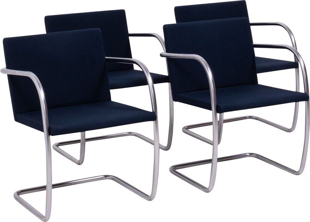 Set Of 4 Dining Room Chairs In Navy Fabric Brno By Ludwig Mies Van Der Rohe For Knoll Design Market