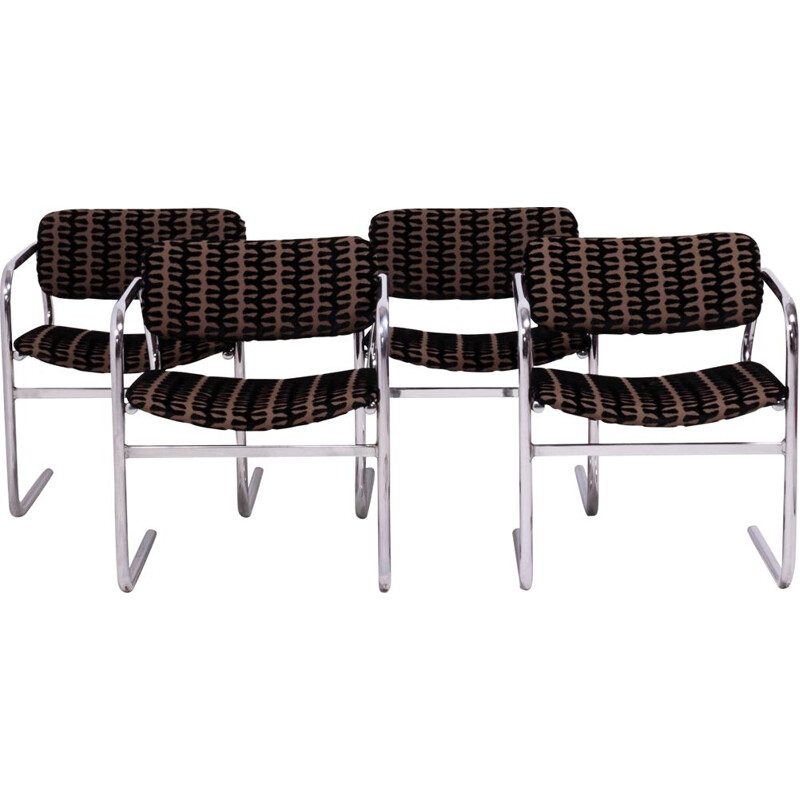 Set of 4 Vintage Brown and Black Fabric Dining Chairs by Pieff
