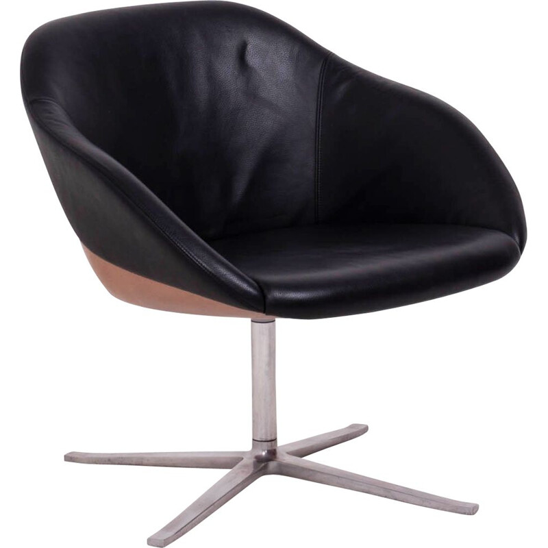 Vintage Black Leather Turtle Lounge Chair by Walter Knoll