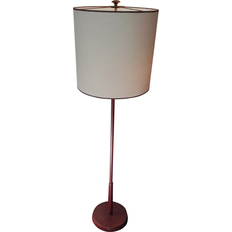 Scandinavian floor lamp in wood and brass - 1960s