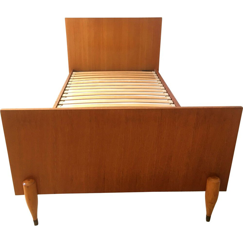 Vintage oak single bed 1960