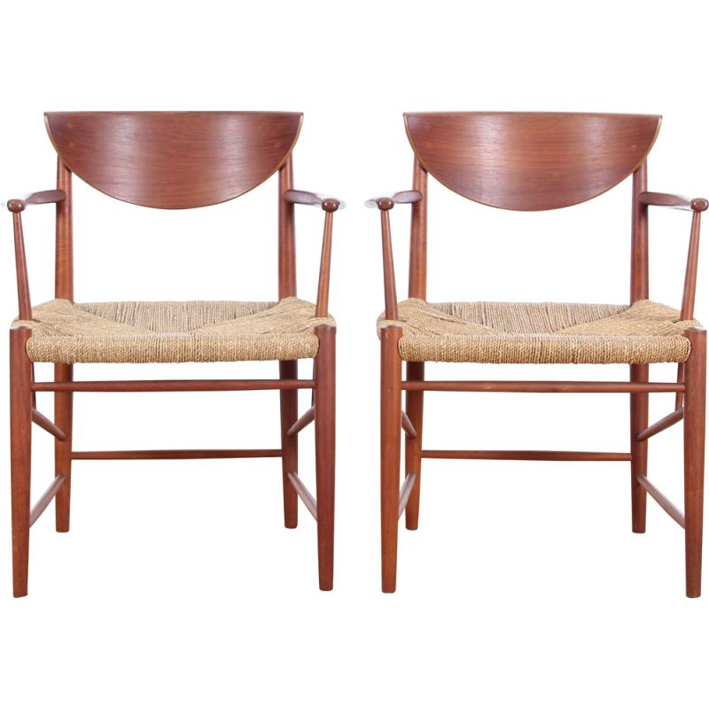Pair of vintage Scandinavian teak armchairs model 317 by Peter Hvidt & Orla Mølgaard Nielsen for Søborg Møbelfabrik