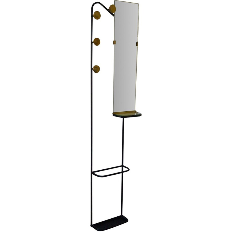 Brass and steel wall-mounted vintage coat rack, 1950's