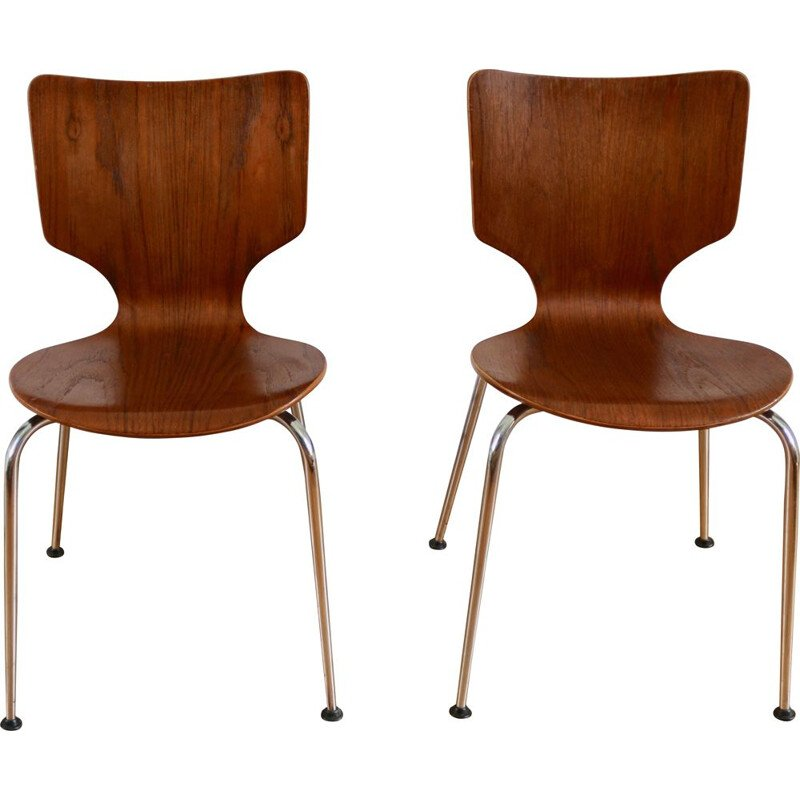 Pair of vintage scandinavian teak and chrome chairs 1960