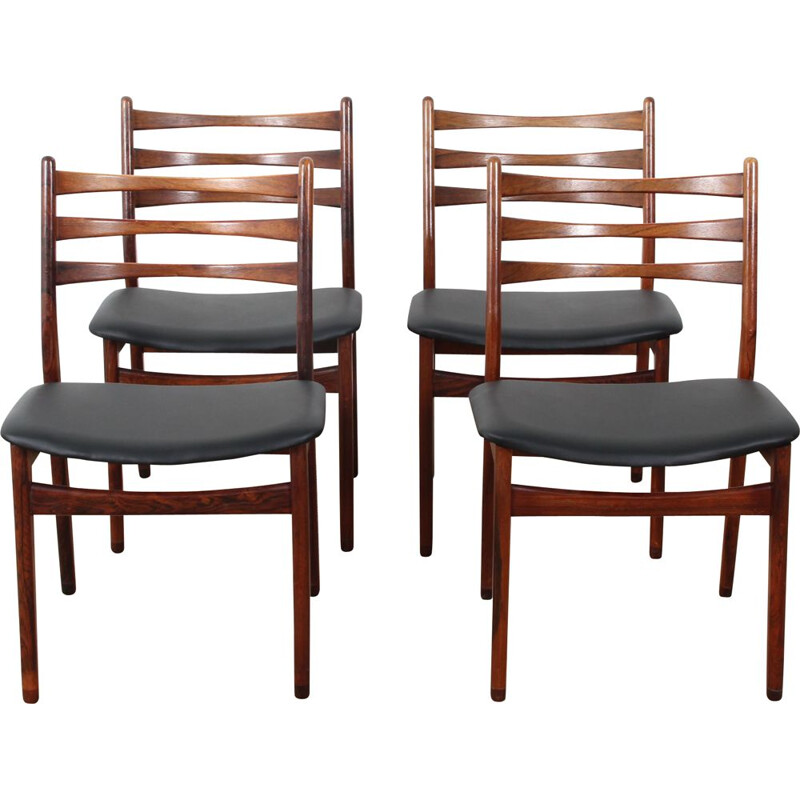 Suite of 4 vintage scandinavian rosewood chairs