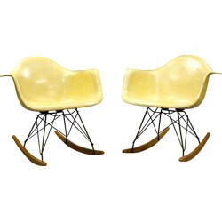 Pair of RAR yellow fiberglass, steel and wooden armchairs, Charles & Ray EAMES - 1950s