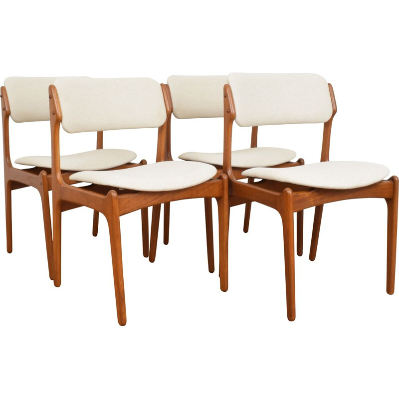 Set of 4 vintage teak Dining Chairs by Erik Buch for O.D. Møbler, 1960s