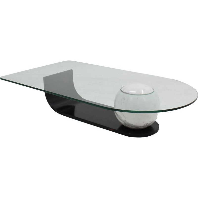 Vintage marble and glass coffee table by F.lli Longhi, Italy, 1980s