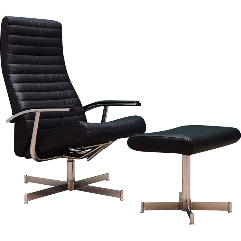 Danish vintage Bolia armchair with footrest, 1970