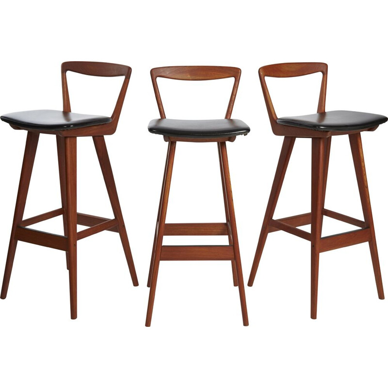 Set of 3 vintage Scandinavian stools by H. Rosenbren Hansen, 1960
