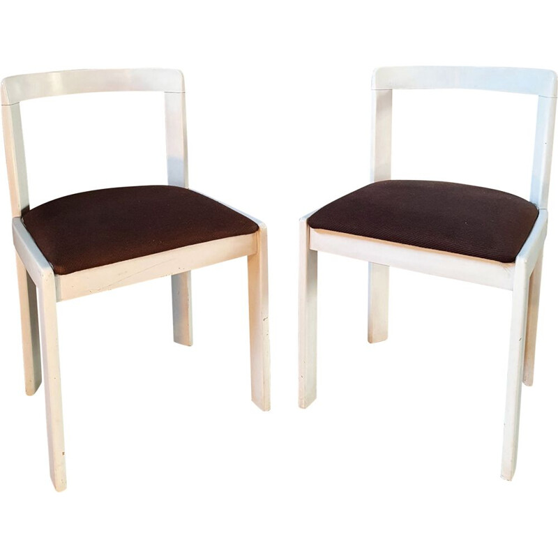 Pair of vintage Italian lacquered wood chairs, 1970