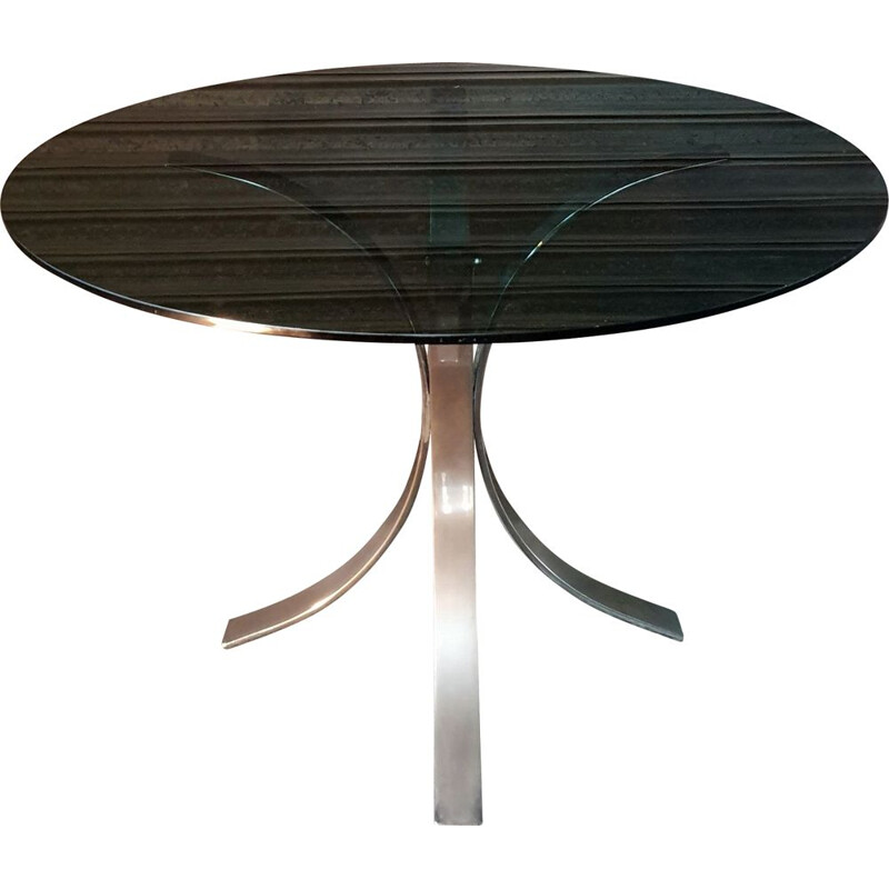 Vintage dining table by Osvaldo Borsani for Roche Bobois in metal and smoked glass, 1970s
