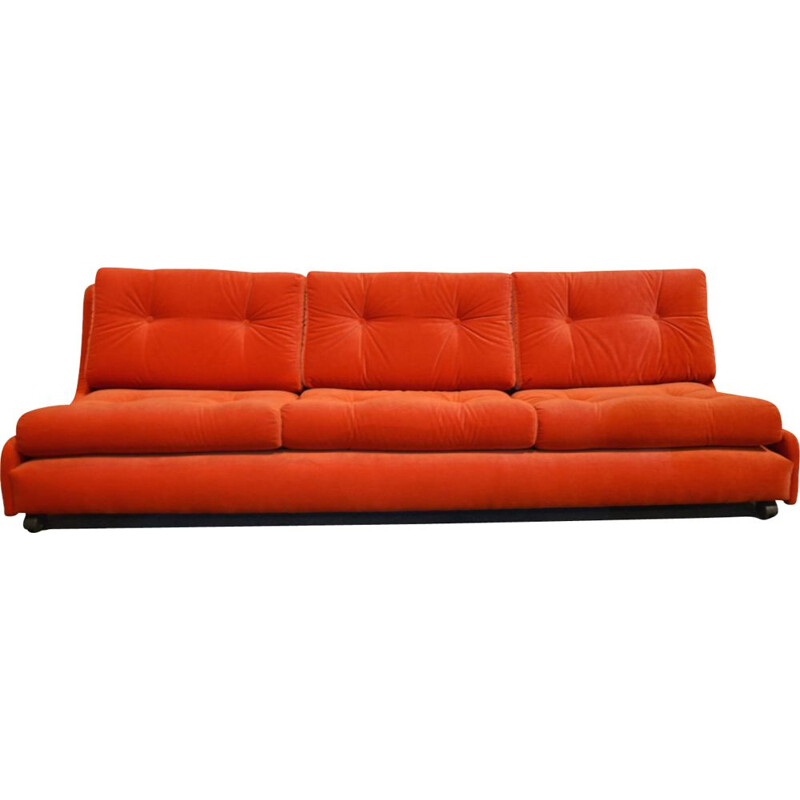 Vintage POP sofa in orange-red velvet