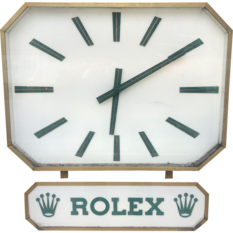 Vintage brass and Plexiglas Duoface clock by Rolex, 1970