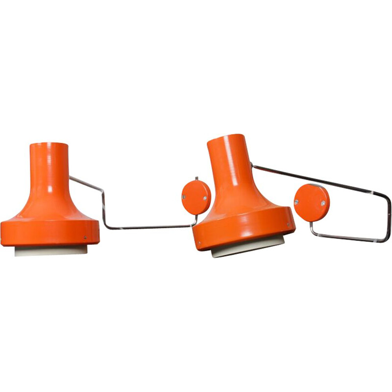 Pair of vintage orange sconces by Josef Hurka for Napako, 1970