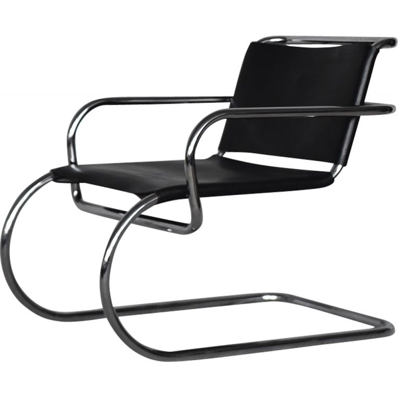 Vintage German leather cantilever chrome-plated tubular steel Bauhaus chair by Franco Albini for Tecta, 1950s