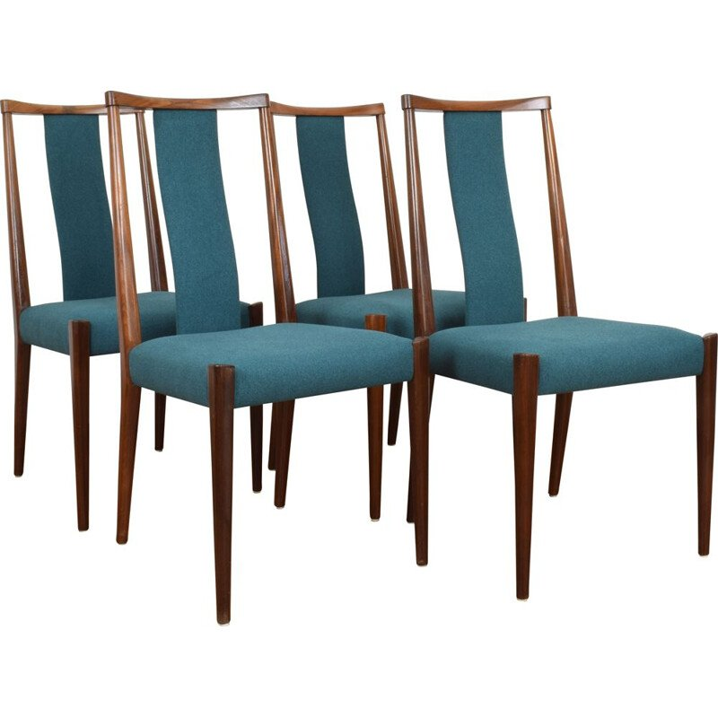 Set of 4 vintage Danish green teak chairs, 1960
