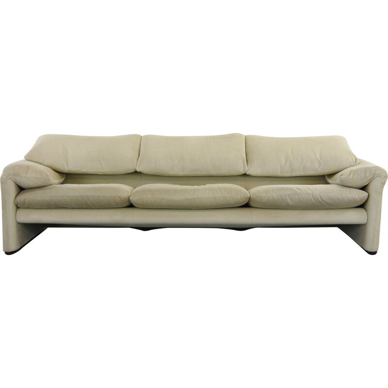 Vintage Maralunga 3-seat sofa in striped beige fabric by Vico Magistretti for Cassina