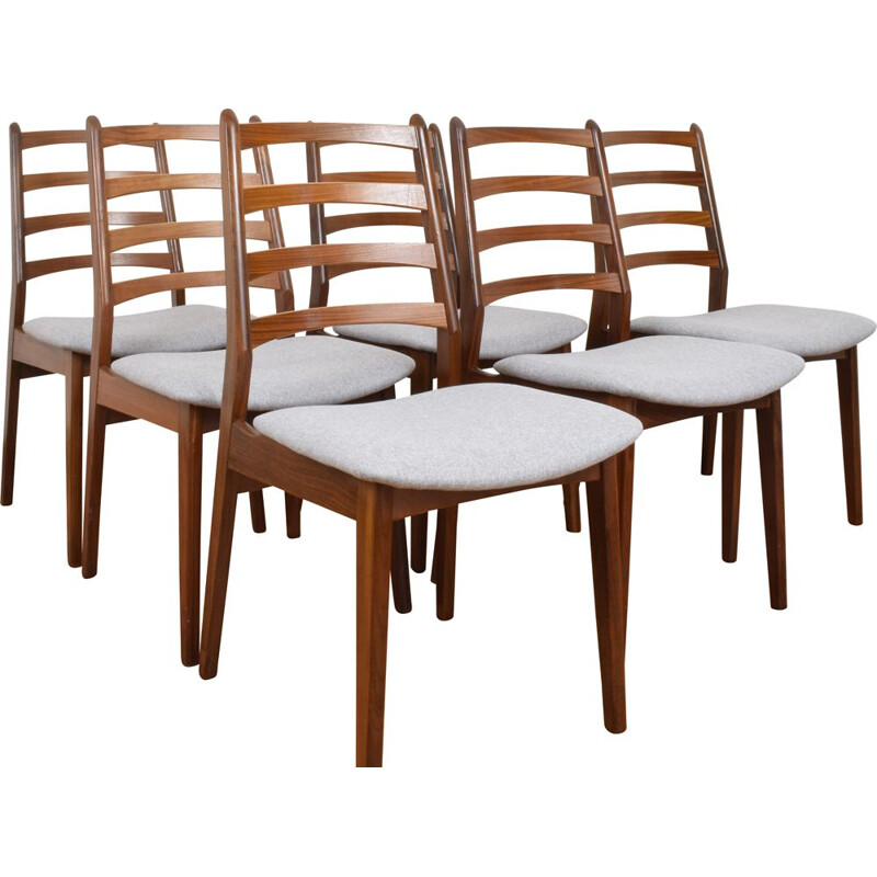 Set of 6 vintage grey Danish teak dining chairs, 1960s