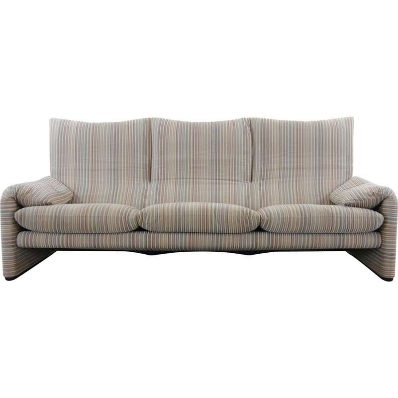 Vintage Maralunga 3-Seat Sofa in striped colored fabric by Vico Magistretti for Cassina