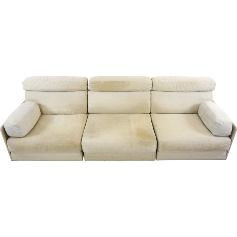 Vintage modular sofa DS-76 in canvas and convertible daybed by De Sede, 1970s