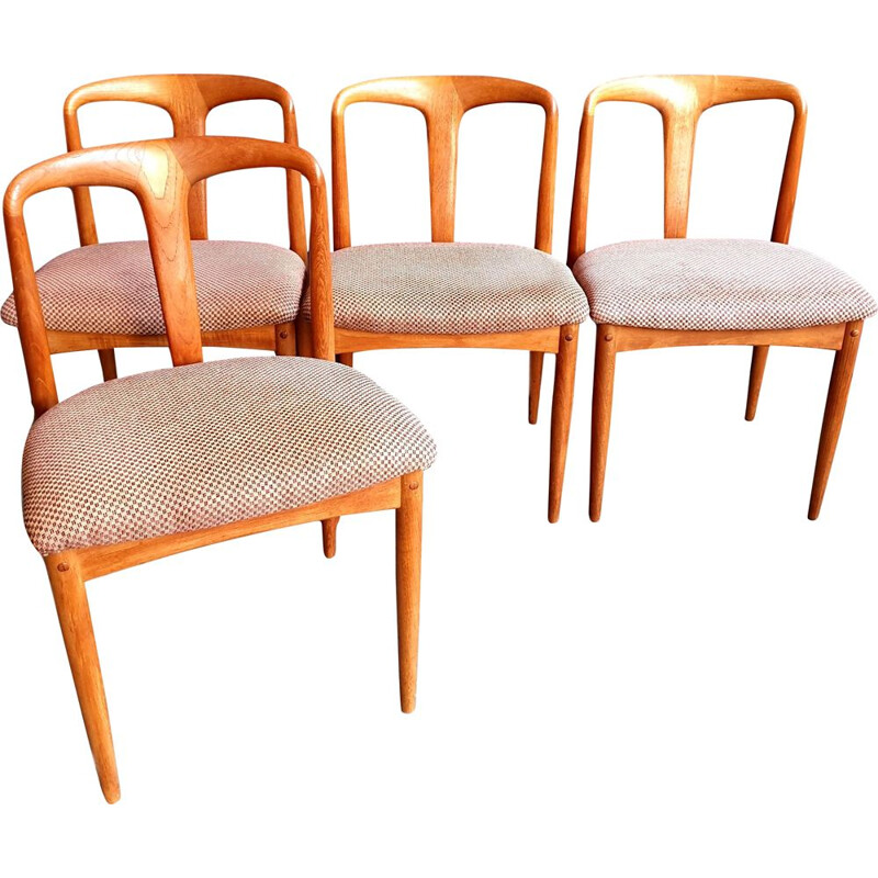 Vintage set of 4 Danish teak Juliane dining chairs by Johannes Andersen for Uldum Møbelfabrik