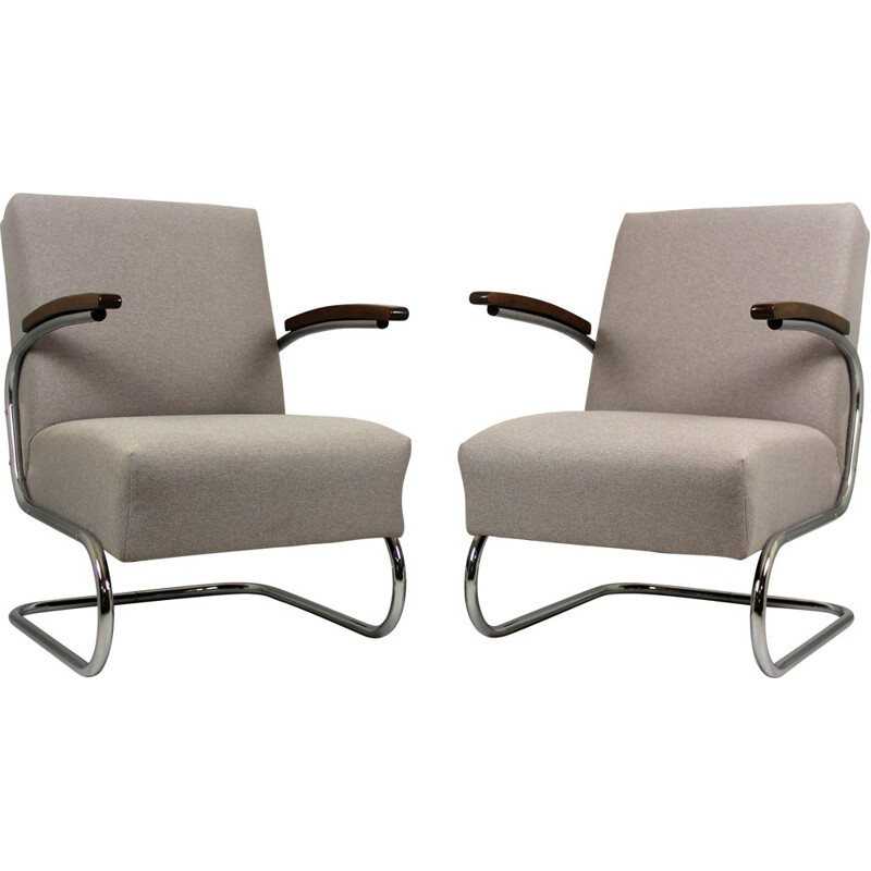 Pair of vintage cantilever S-411 armchairs by W. H. Gispen for Mücke Melder, 1930s