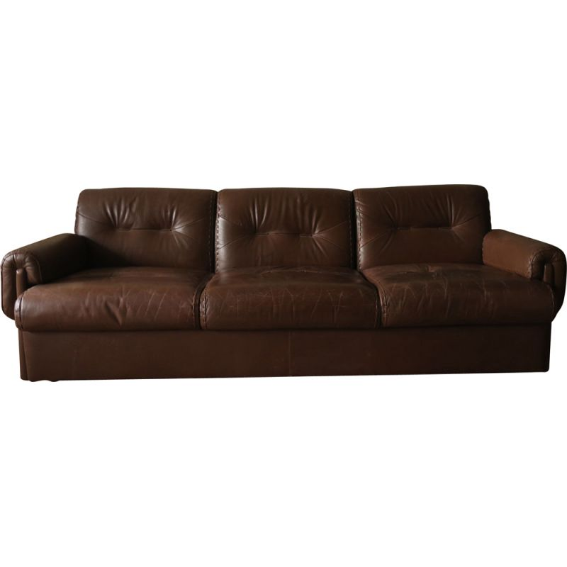 Vintage Danish brown stitched leather 3-seater sofa, 1960s