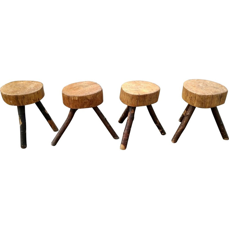 Set of 4 brutalist tripod stools, 1950